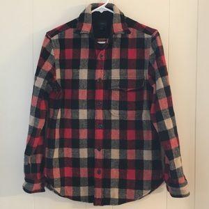 J. CREW wool checked button down shirt XS